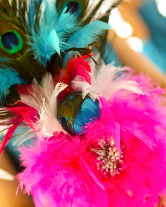 Peacock and Hot Pink Wedding Decor PICS wedding bouquet peacock feathers