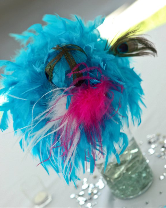 Centerpieces6 in turquoise Peacock and Hot Pink Wedding Decor PICS