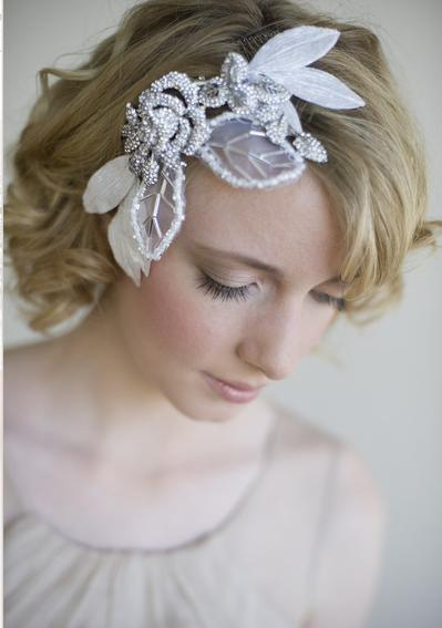 GORGEOUS Twig and Honey Rhinestone Tulle Leaf Headpiece wedding twig and