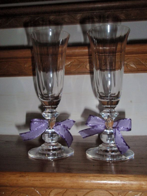 Toasting Flutes wedding toasting flutes purple diy reception Flutes