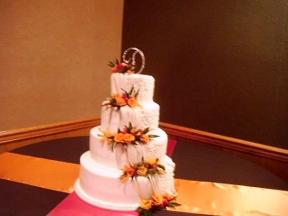 Lots of Chocolate, Hot Pink, and Orange Decor :  wedding papper lanterns cake topper tablecloths table runners brown orange pink reception Cake Topper
