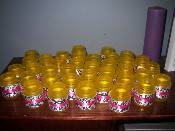 Baby food jar candle holders :  wedding yellow tealights damask candle holder ink ribbon baby food jars TEALIGHTS