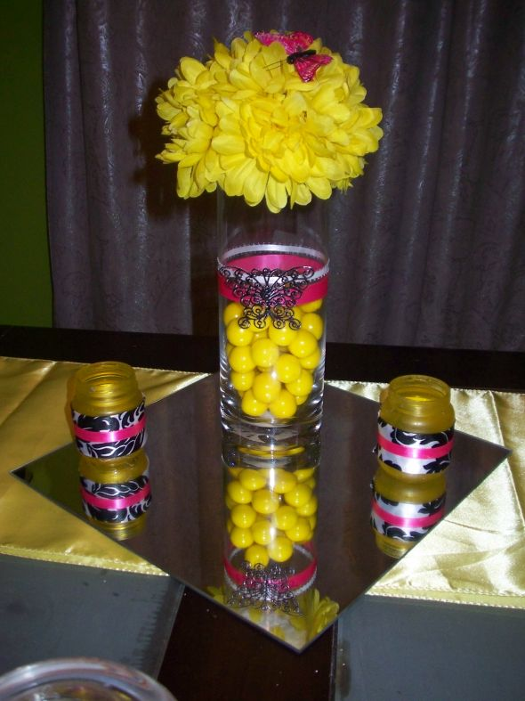 Wedding planning - Red and yellow centerpieces ...