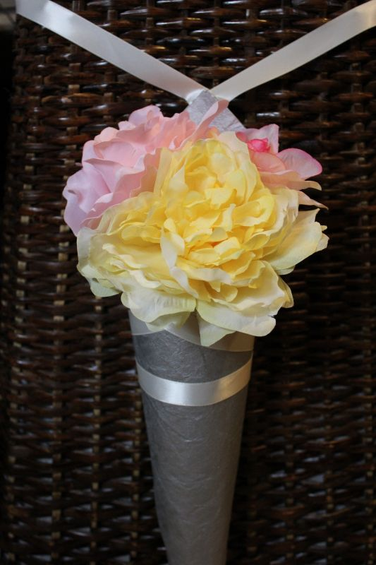 Pew Cones wedding pew cones aisle decor decoration pink white yellow