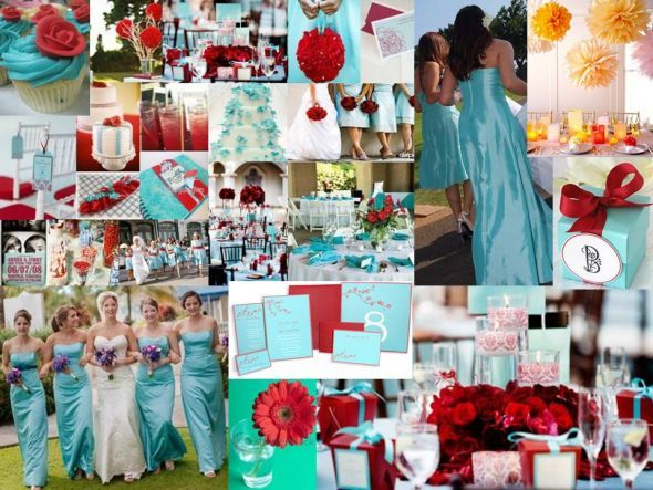 Turquoise and Red Wedding Dress