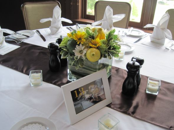 Ours were low and simple Show me your centerpieces wedding