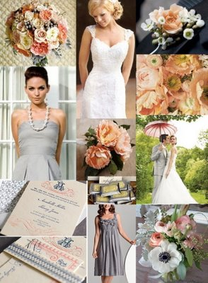 Color Palette Driving me Crazy!!! :  wedding Inspiration Board   Peach Navy Silver
