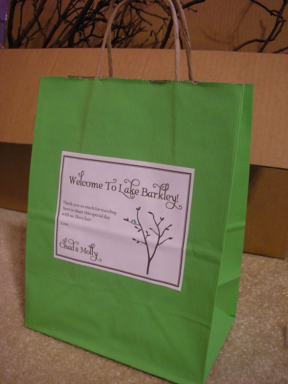 Out of Town Welcome Bags :  wedding diy green out of town bag rustic tree welcome bag Welcome Bags