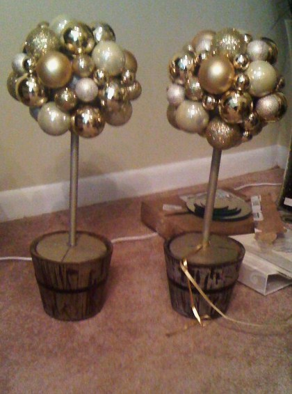 Steps to make a Ornament Topiary wedding christmas gold champgne ivory