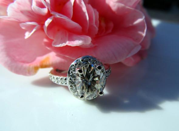22 Carat Oval Halo Moissanite ERing wedding moissanite oval halo e ring