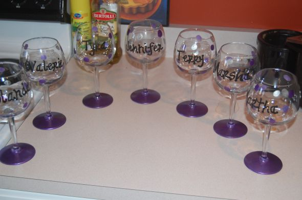 Handpainted bridesmaid wine glasses weddingbee photo gallery for Do it yourself wine glasses