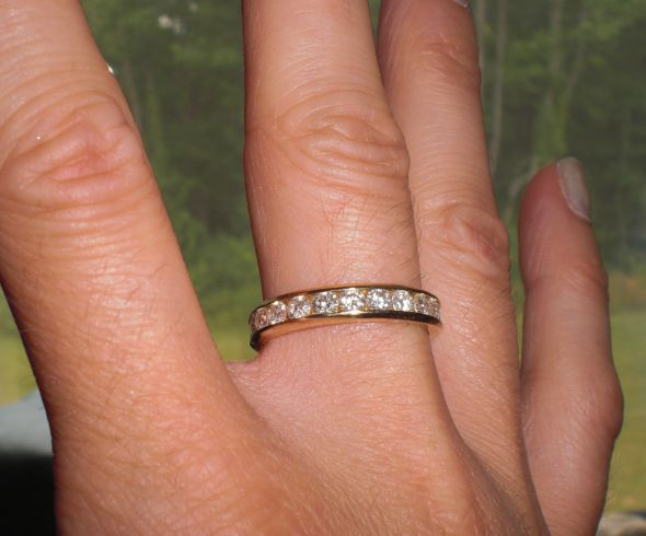 white set channel diamond ring eternity bands band gold