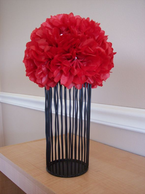 My DIY Centerpieces wedding red black white centerpiece tissue paper