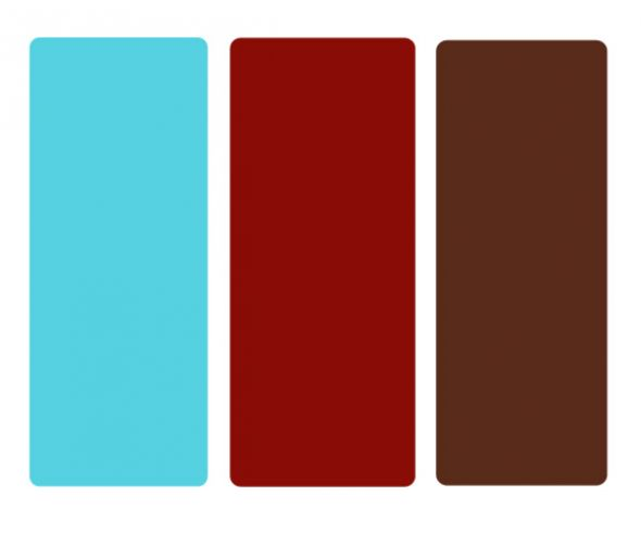 I would suggest doing chocolate brown with blue and orange or blue and red