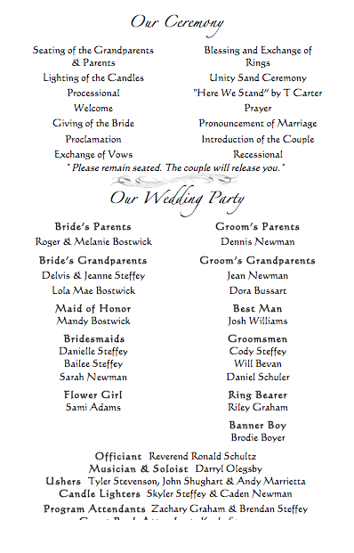 Wedding Programs Who to