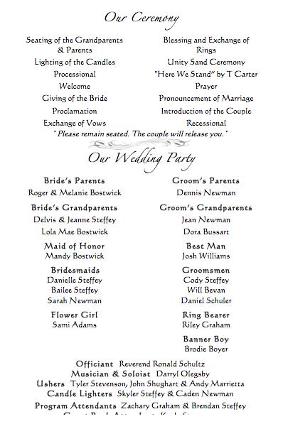 Babanina S Blog Traditional Catholic Wedding Ceremony Program