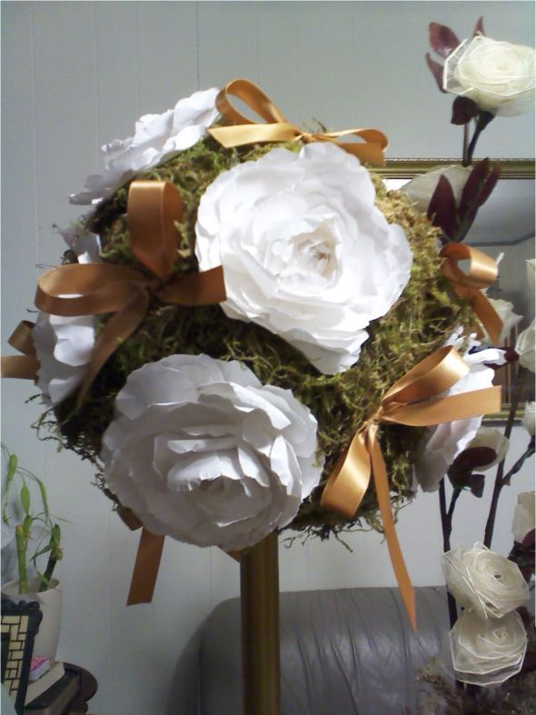 Centerpieces paper peony rose topiary wedding gold white ivory