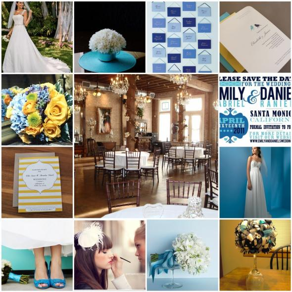 Cobalt Blue Bright Teal and Lemon Yellow wedding teal blue yellow