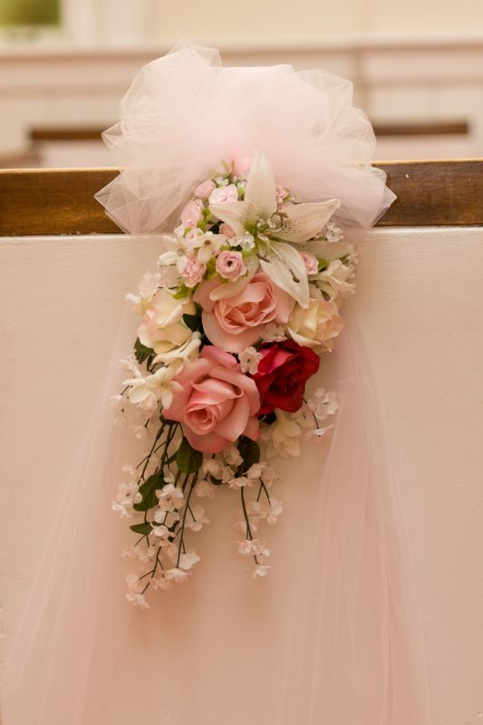 Pew Bows Silk Flowers wedding pew decor pink ceremony diy Pew Decor