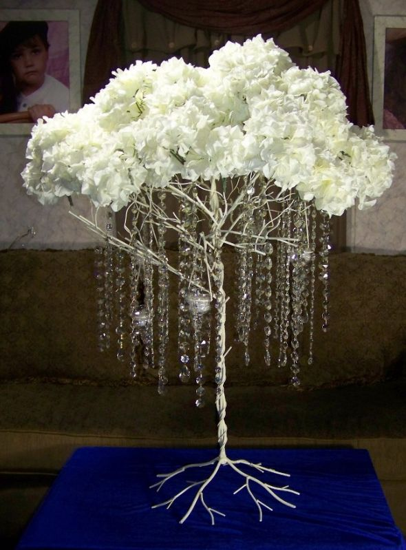 Metal Tree With Hanging Crystals Hydrangeas And Lites Sold The Knot