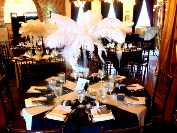 Ostrich Feather Centerpieces wedding centerpiece black white ivory