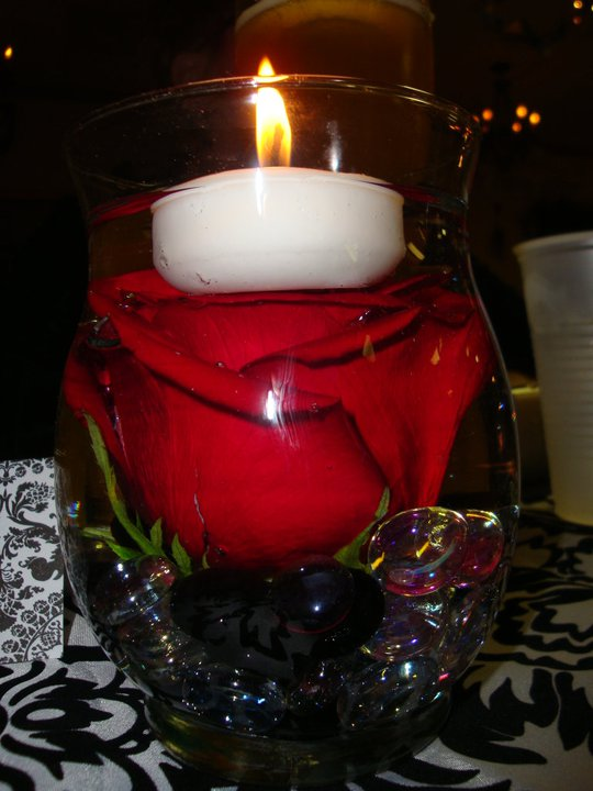 Red rose floating candle centerpiece car interior design