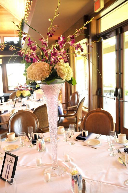 orchid hydrangea centerpieces wedding purple white flowers reception