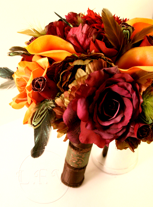 Jewel of Autumn Wedding Bouquet Boutonniere Set