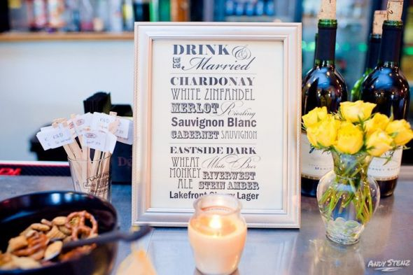 Bar Sign wedding bar sign drinks diy black ivory yellow reception 271597