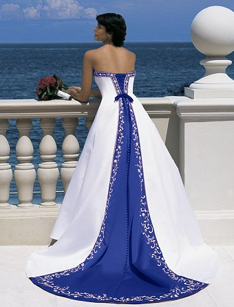 Here is an Alfred Angelo Royal Blue and White Wedding Gown wedding blue