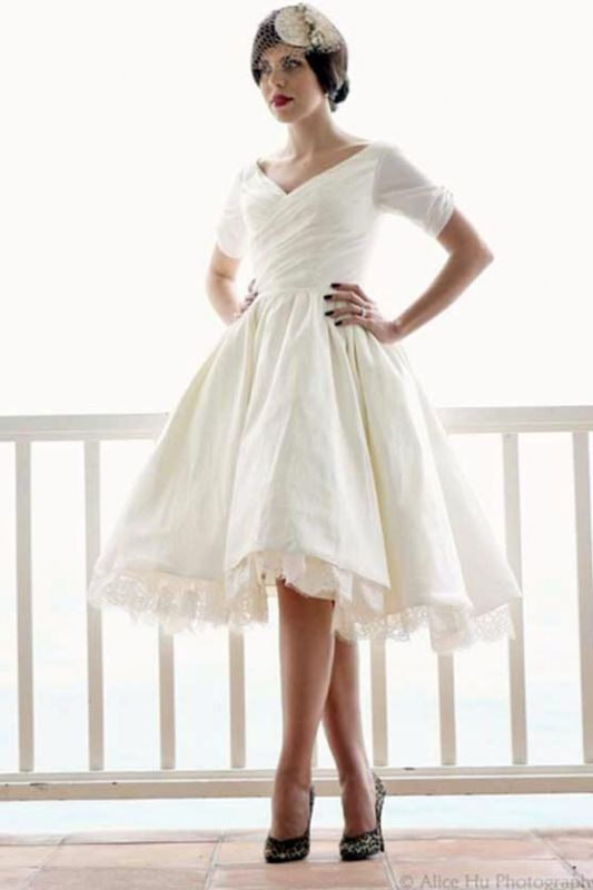 Need 50 s style short dress for rehearsal dinner please for Short couture wedding dresses