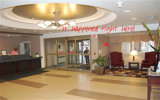 Proposal--at the Holiday Inn? :  wedding Lobby