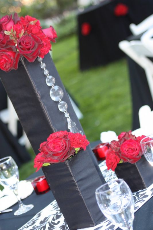 wedding Black Square With Red Roses black centerpieces