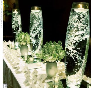 Inspiration Centerpieces :  wedding flowers green ivory reception white Babys Breath Candle Centerpieces