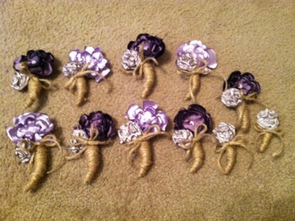 Fabric Bouts :  wedding boutonniere 1 fabric flowers purple white ivory silver bouquet inspiration diy BOUT3