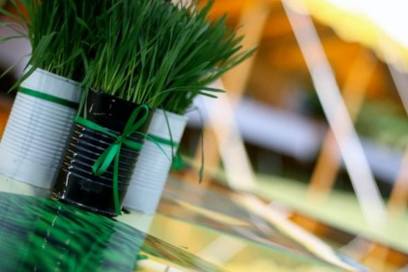 Recycled Wheat Grass Centerpieces! :  wedding Centerpiece Grass
