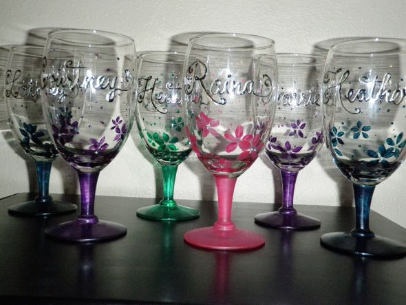 Diy hand painted glasses with rhinestones weddingbee for Do it yourself wine glasses