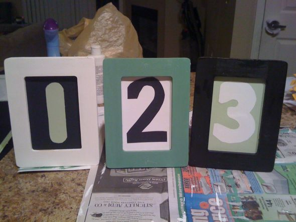 Green Black White simple table numbers wedding table numbers black green