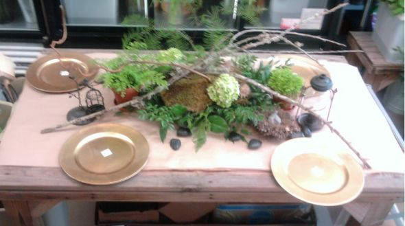 wedding center pieces rustic twigs moss Table Top 1 year ago