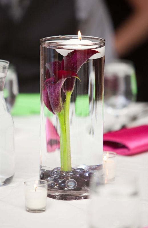 DIY Submerged Calla lily Centerpiece with floating candle wedding green