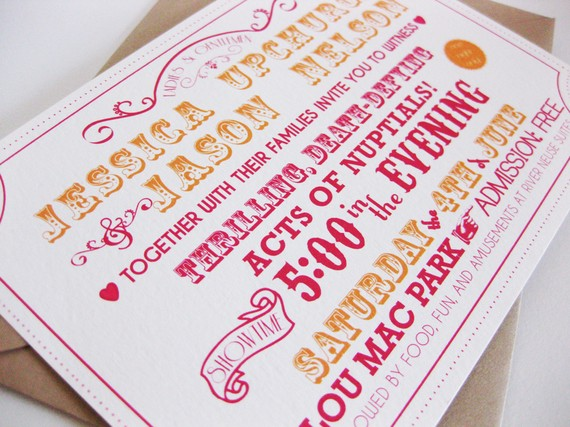 Awesome Carnival Wedding invites