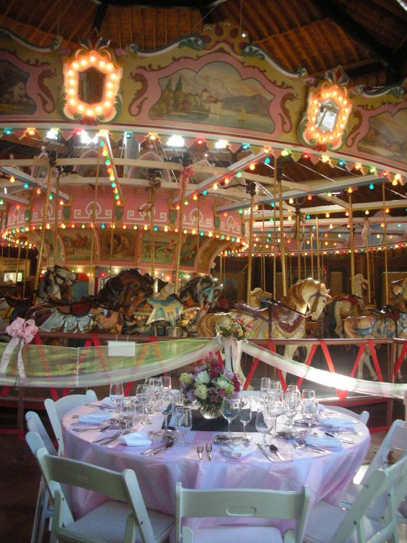 Would you drive two hours to the middle of nowhere for the coolest venue ever? :  wedding pink carnival western mass Carousel