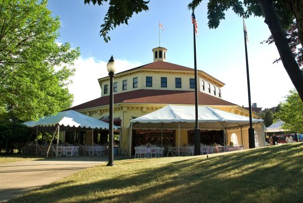 Would you drive two hours to the middle of nowhere for the coolest venue ever? :  wedding pink carnival western mass Carousel2
