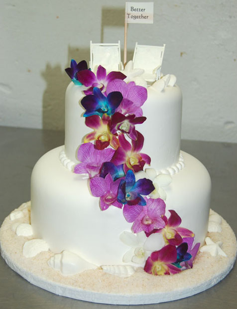 My adorable beach cake!!! :  wedding 2 tier beach wedding cake blue cake inspiration ivory orchid purple purple flower Iouoi