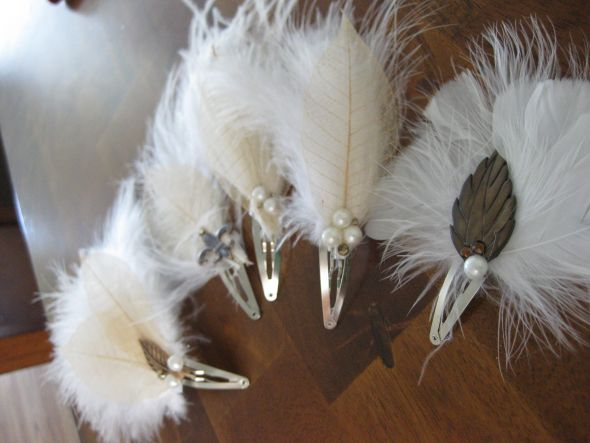 Feather and leaf fascinators